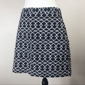 Banana Republic Blue & Cream Jacquard Pencil Skirt
